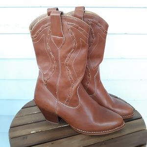 Vintage Leather Heeled Cowgirl Boots Size 8.5